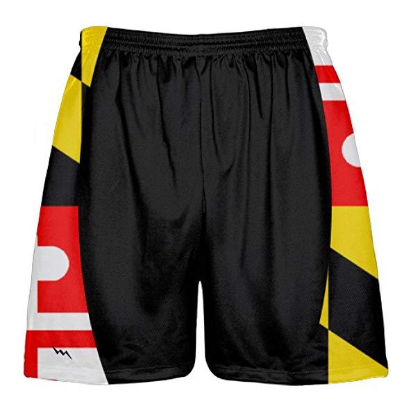 Amazon Com Lightningwear Black Maryland Flag Lacrosse Shorts Sublimated Maryland Flag Shorts Gateway Madeinmaryland Usa O Maryland Flag Lacrosse Shorts