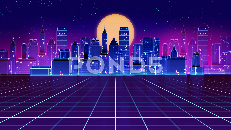 4k Loop Retro Futuristic Skyscraper City 1980s Style Footage