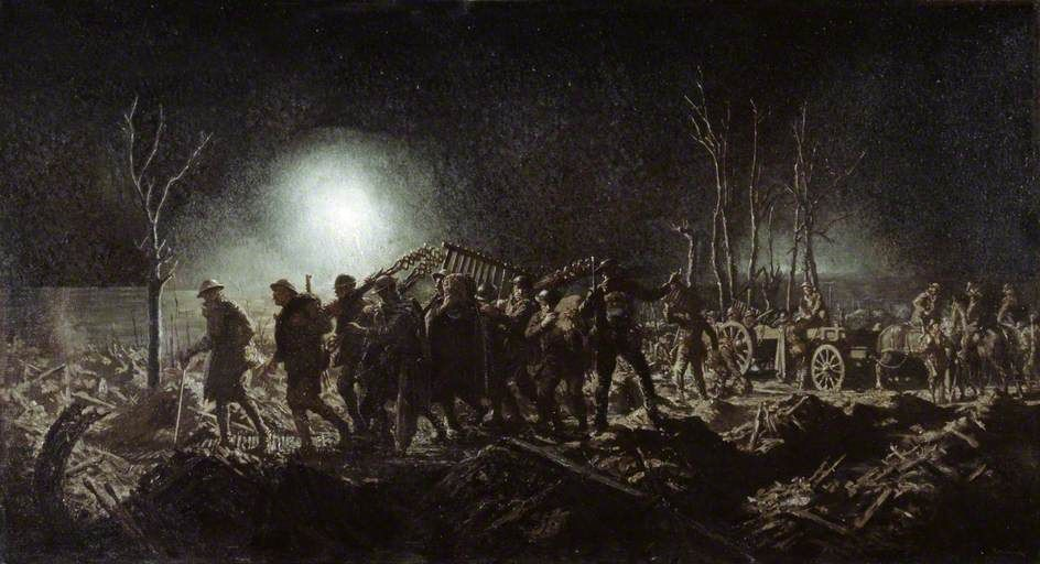 The Working Party, c.1917 by Richard Tennant Cooper.   Date painted: c.1918.  During WW1 all front line regiments detailed working parties to undertake tasks such as repairs and extensions to the trench systems, reconnaissance and recovery of the dead and wounded. Any work in the open meant that they had to operate at night to avoid being picked off by enemy marksmen. But it remained a risky operation as the dazzling white light of flares could still suddenly expose them.