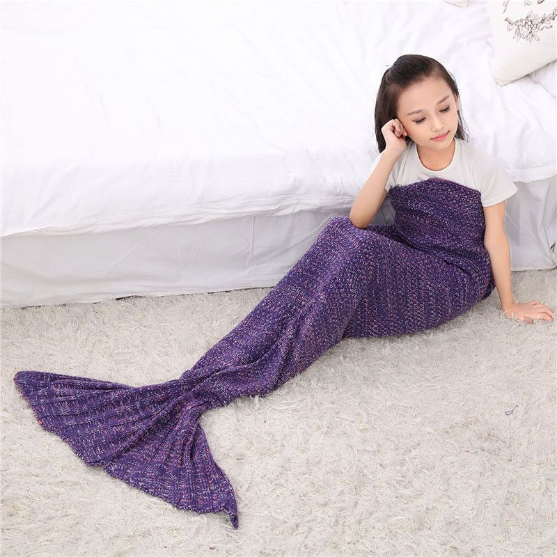 Nice Spring Bedding Sofa Mermaid Blanket Wool Knitting Fish Style Little Tail Blankets Warm Sleeping Child Kids Princess Loves Gift Blankets Home & Garden