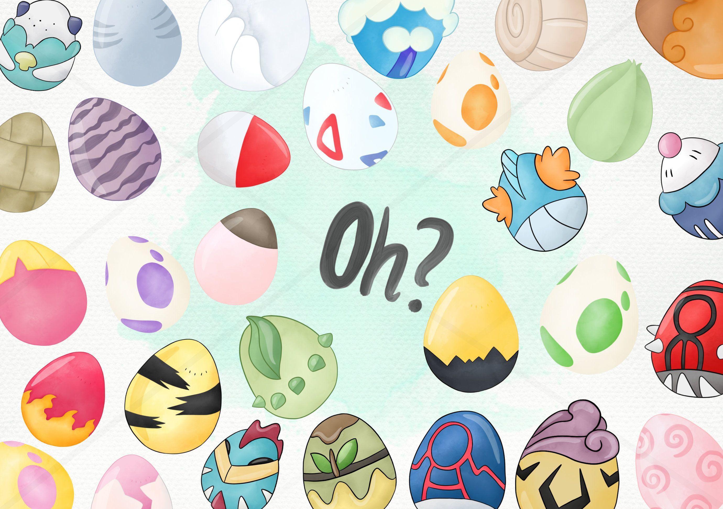 30 Clipart Easter Egg Watercolor Pokemon Go Inspired Instant Etsy Egg Watercolor Pokemon Clip Art