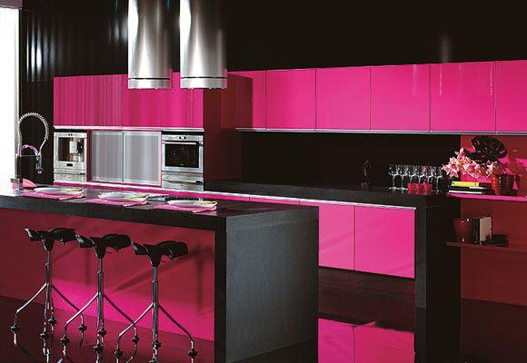 Rosa en la cocina cocinas pinterest ideal house for Cocinas de color rosa