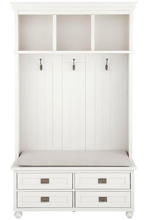White Four Drawer Storage Bench Locker | Decor & Furniture ...
