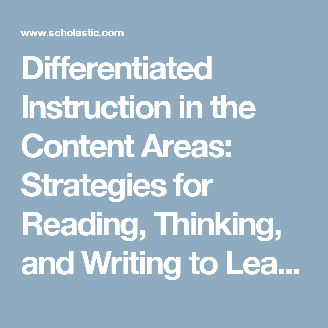 Differentiated Instruction In The Content Areas Strategies For
