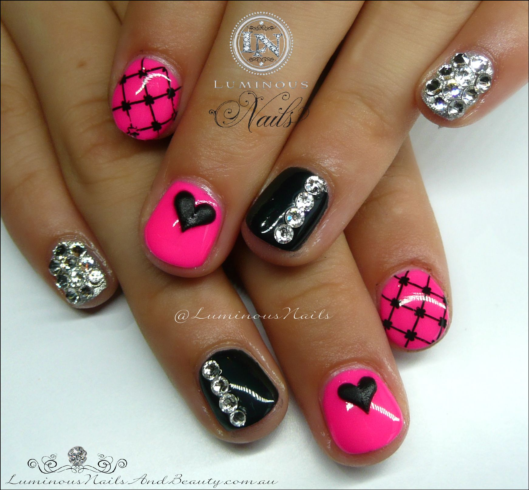 Cute Pink & Black Gel Nails for a Cute Little Girl ...