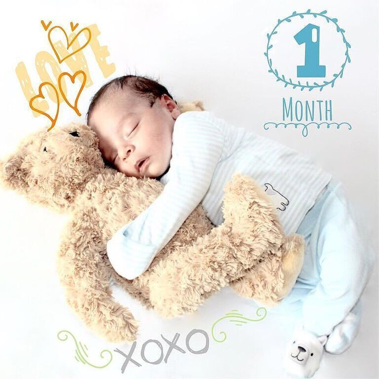 Everything in life I share  except of course my teddy bear  1 month CUTE milestone  captured by @mrs_islas with our 'Florals' artwork  TO BE FEATURED HERE  tag photos made with @BabyStoryApp #BabyStoryApp