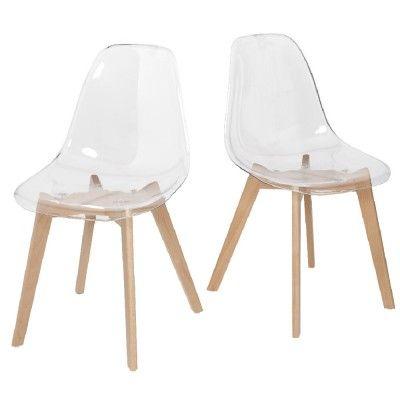 Chaise Chloé transparente pieds naturel x2 Salons