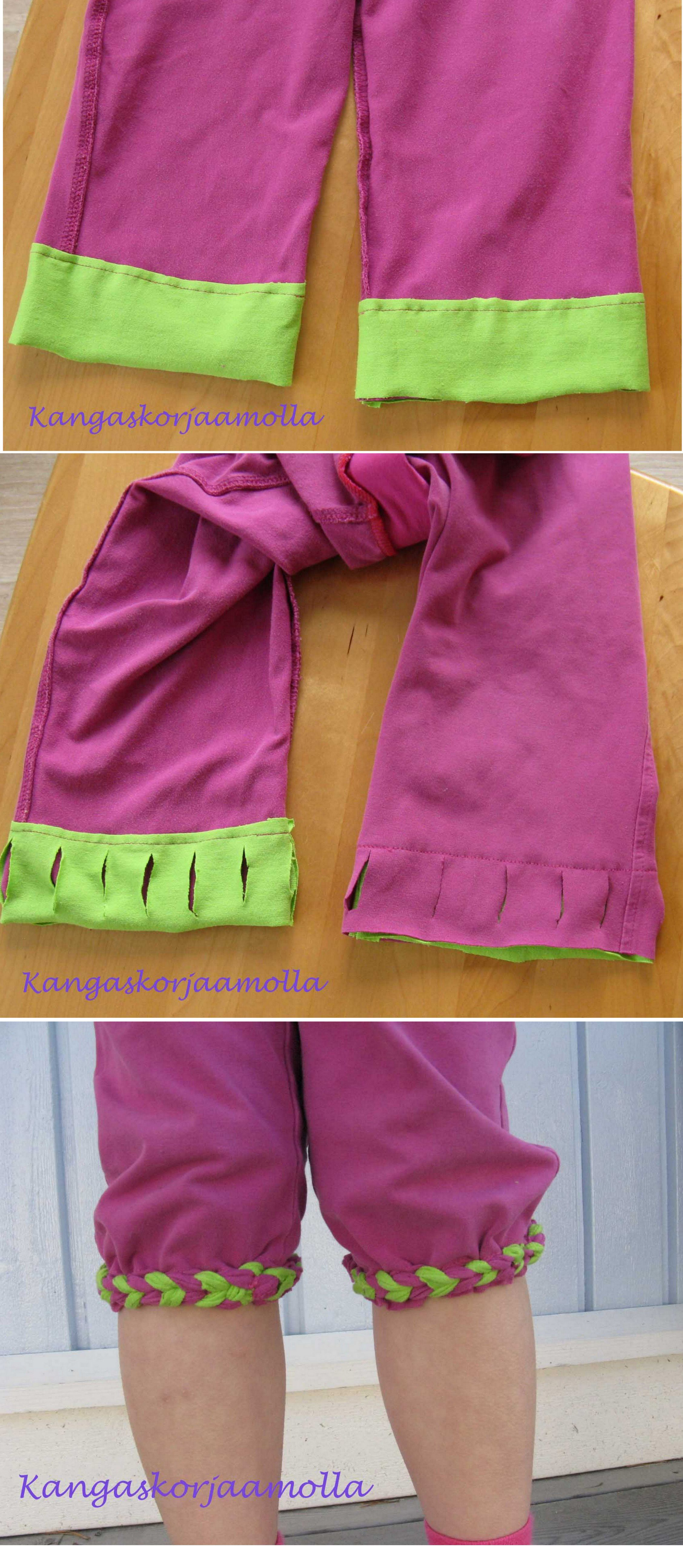 Silmukointi, chain weawing, laddering, braided pants