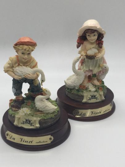 Vintage Estate Da Vinci Collection Country Farm Boy Girl Figurine Set Farm Boys Vintage Estates Country Farm