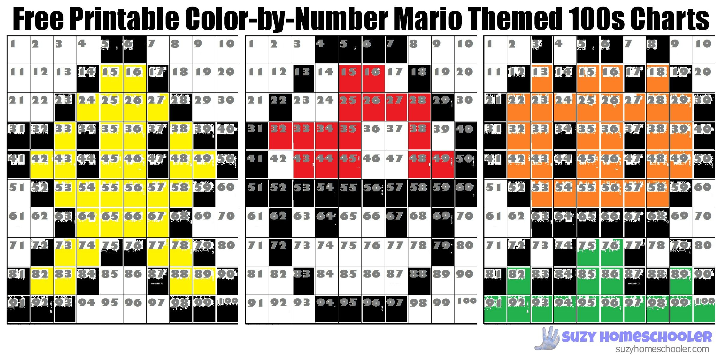 Free Printable Color By Number Mario Themed 100s Charts