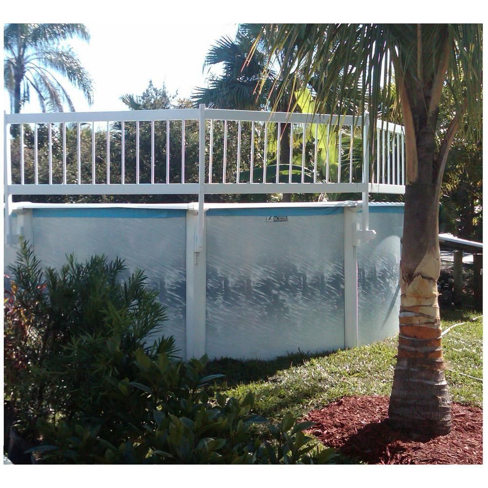 Waterwarden Above Ground Pool Safety Fence Base Kit A 8 Fence Sections Est145 The Home Depot In 2020 Above Ground Pool Landscaping Above Ground Pool Fence Pool Landscaping