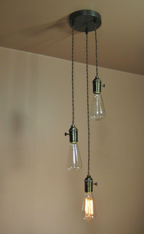 3 Light Chandelier Cascading Pendant Lights With Edison Light