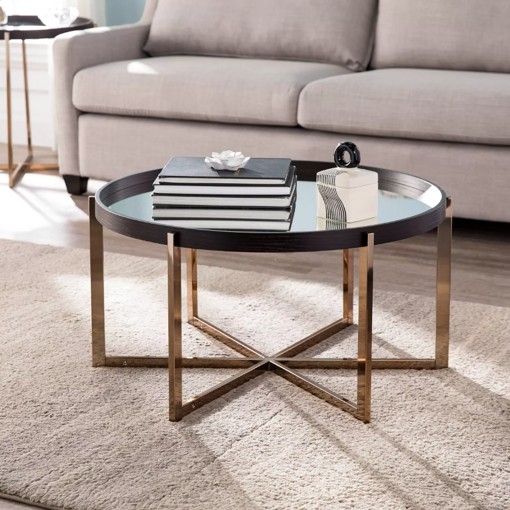 Moswick Round Cocktail Table With Mirrored Top Black Champagne Aiden Lane In 2021 Round Cocktail Tables Coffee Table Circular Coffee Table [ 1000 x 1000 Pixel ]