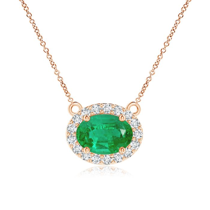 Angara East-West Oval Emerald Necklace with Diamond Halo 0skuNYxX