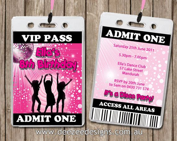 Personalised Disco VIP Lanyard Invitations x 10 by deezeedesign