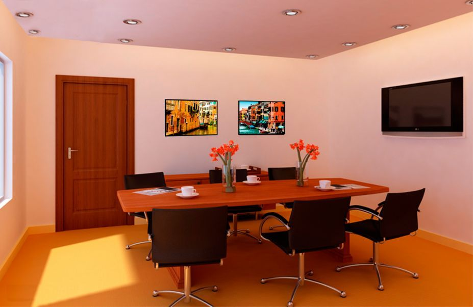 Simple Modern Conference Room With Cream Floor Luxurious