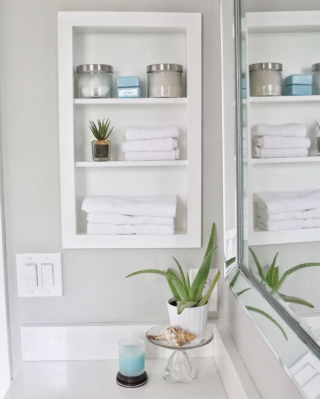 Pin By Kristy Fountain On Airbnb Recessed Shelves Bathroom