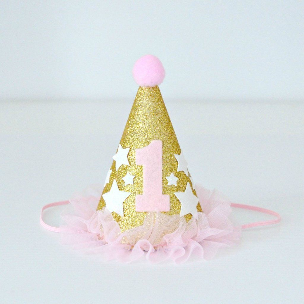 Twinkle Twinkle Little Star Pink, White & Gold Glitter 1st Birthday Mini Party Hat   1st Birthday Party or Cake Smash