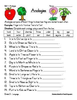 Analogy Worksheet Have Fun Teaching Reading Comprehension