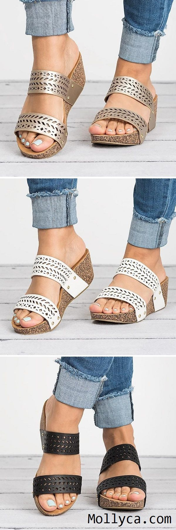 5fa07745a004 Buy 2 Got 5% OFF Code  mollyca Women Wedge Slippers Hollow Casual Comfort  Laser Cut Sandals