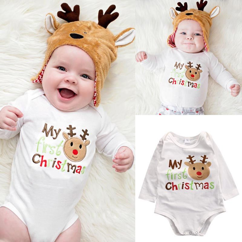Newborn Infant Baby Boy Girls Clothes Christmas Long Sleeve Cotton Bodysuit Jumpsuit Playsuit Outfits Clothing Click On The P Primo Natale Natale