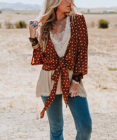 8f56ee9143a4f Finish the day s style with laid-back boho vibes when you layer this breezy  kimono over your outfit. Tie it at the front to highlight your figure with  ...