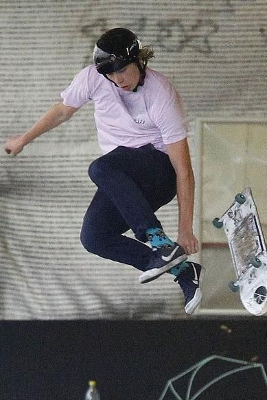 8afd12b54ed4 Brooklyn Beckham wearing Vans Gr Chino Pants in Black Iris and Nike Sb Zoom  All Court Ck Skateboarding Shoes