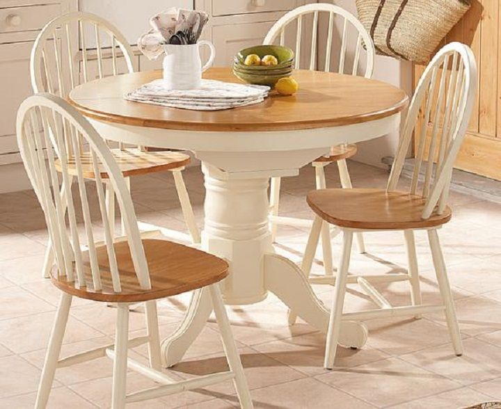 Furniture White Wooden Base Round Wooden Dining Table Design With