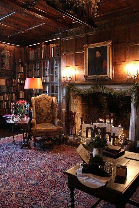 Living Room Or Study Big Chair By The Fireplace Library Salisbury House Home Libraries Home Library