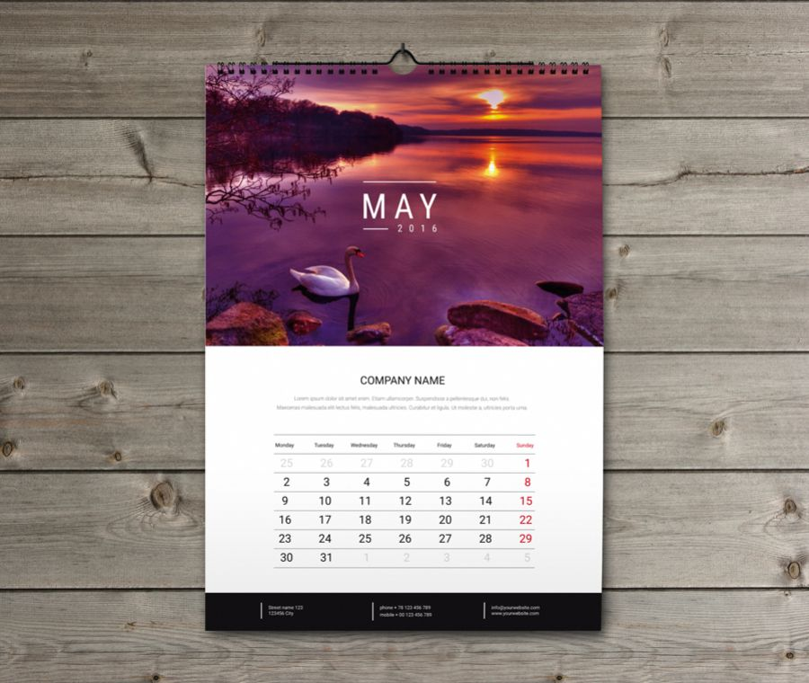Calendar Design Photo : Wall calendar design template kw w b