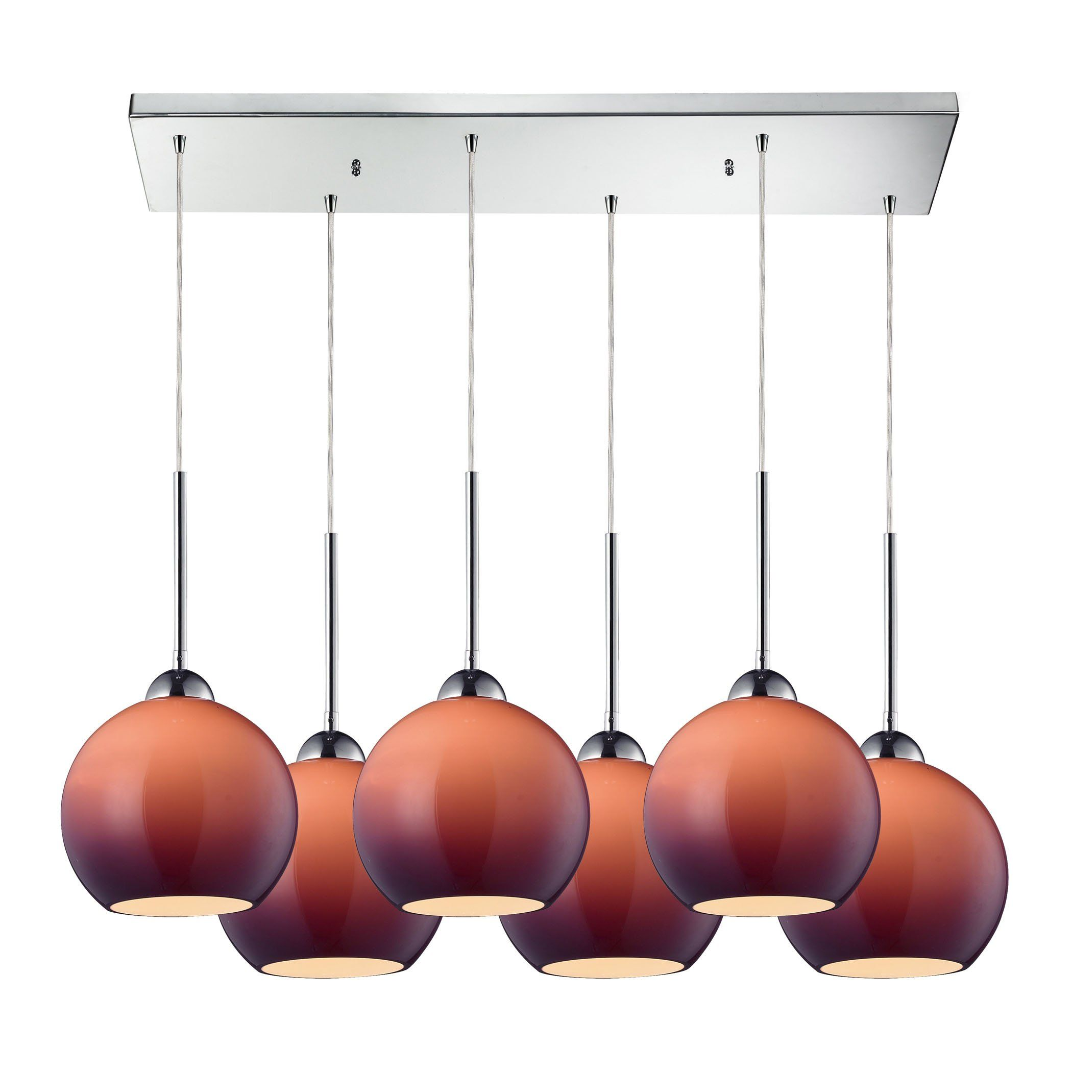 Elk lighting cassandra light pendant in polished chrome and purple