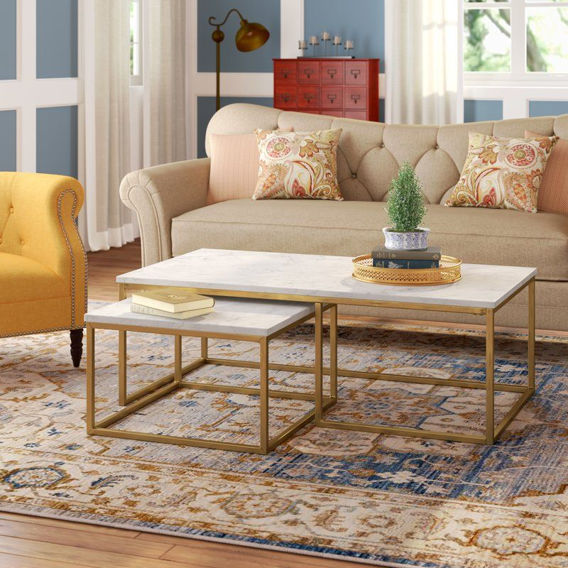 Best Brookby Place 2 Piece Coffee Table Set Marble Top Coffee 400 x 300