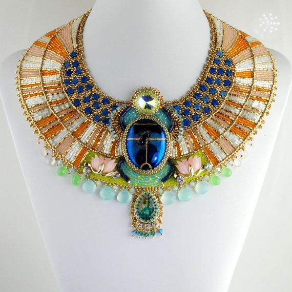 Aether  Egyptian Scarab Necklace Bead by LuxVivensFashion on Etsy, $1500.00-by Doro Soucy