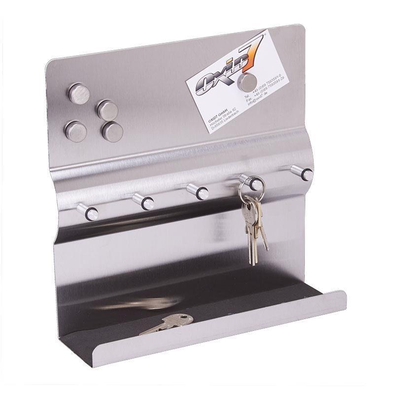 2in1 Stainless Steel Key Rack Magnetic Memo Board Wall