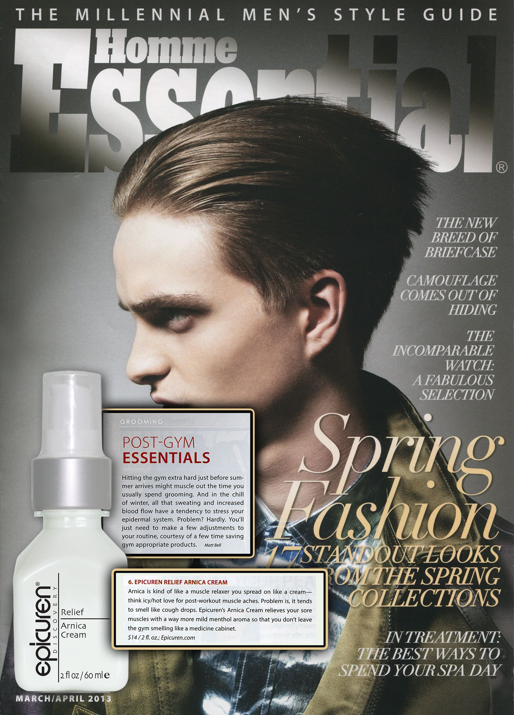 Homme Essential | March/April 2013 | Post Gym Essentials | Epicuren® Arnica Relief Cream | page 124