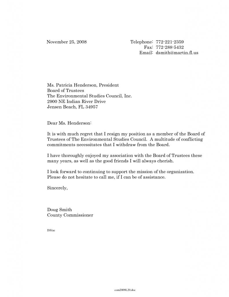 Sample Resignation Letter Volunteer Board Cover How Write Complaint