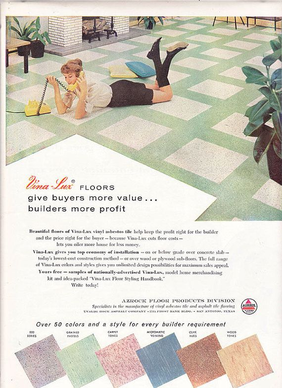 Great 12X12 Ceiling Tiles Thick 16X16 Ceiling Tiles Regular 2X4 Ceiling Tiles Cheap 3X6 White Subway Tile Lowes Old 4 Inch Floor Tile Purple4X12 White Subway Tile 1950s Ad Vina Lux Azrock Floor Tile Midcentury Modern Vintage ..