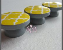 Dresser Knobs - Dresser Drawer Knobs - Drawer Pulls - Quatrefoil Knobs - Grey Yellow Moroccan Style Knobs - Wood Knobs - 1-1/2 Inches