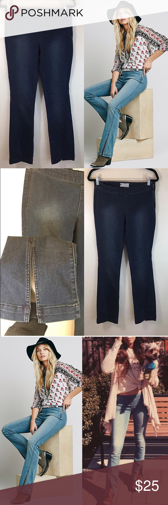 NEW Free People low slit denim flares Brand new never worn. Size 27. Label crossed off to prevent in store returns. They are the darker wash. The modeled photos are the lighter wash and just to see how they look on! Side zipper closure Free People Jeans Boot Cut