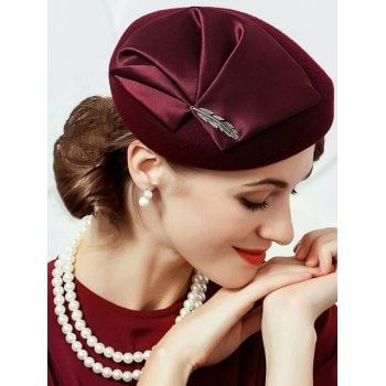852b6cd5190 2018 Vintage Leaf Decorated Faux Wool Fedoras Formal Pillbox Hat WINE RED  In Hats Online Store. Best Vintage Sunglasses For Sale