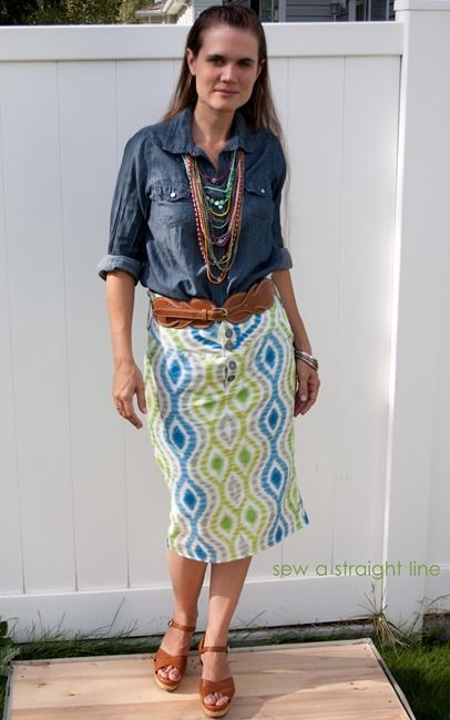 Adorable straight line skirt from @Sabra McKibbon Gubler using this pretty blue and green @Elena S fabric!