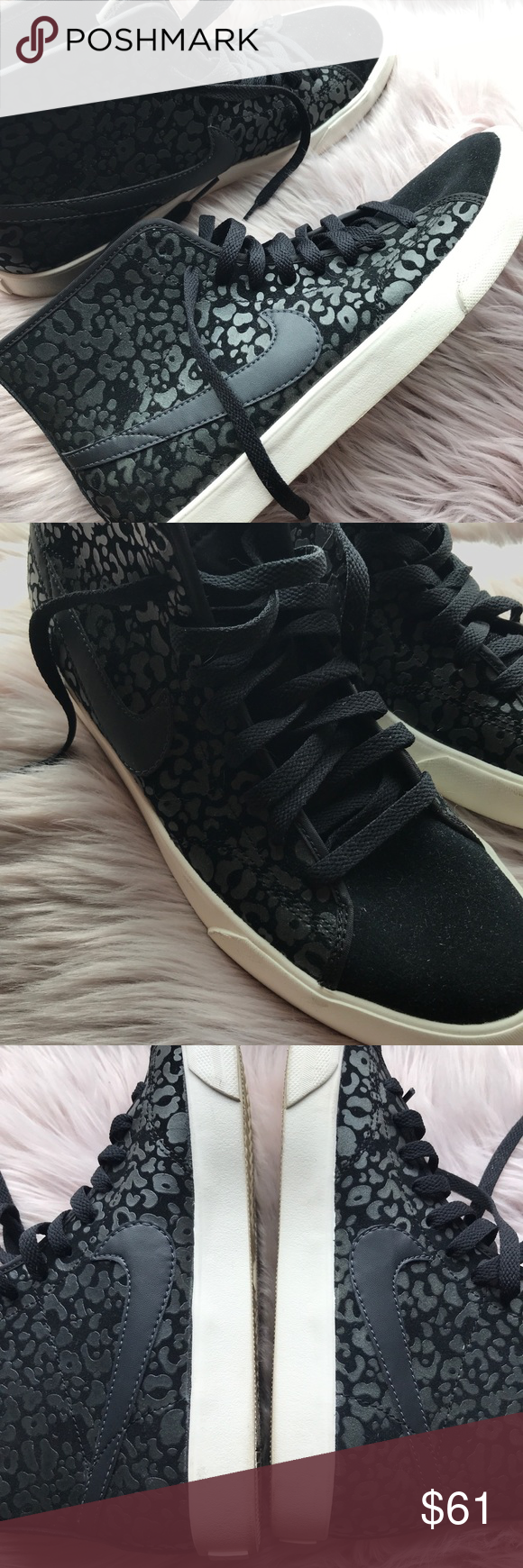 7bf1d2e898761 Nike Primo Court Leopard Suede High-tops Sneakers Women s Nike leopard  print black high-top trainers. Size 9. Used with wear to soles. Nike Shoes  Sneakers