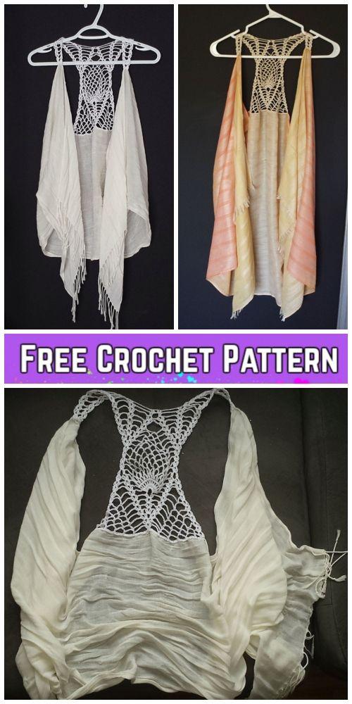 Crochet Pineapple Racer Back Scarf Vest Free Crochet Pattern For