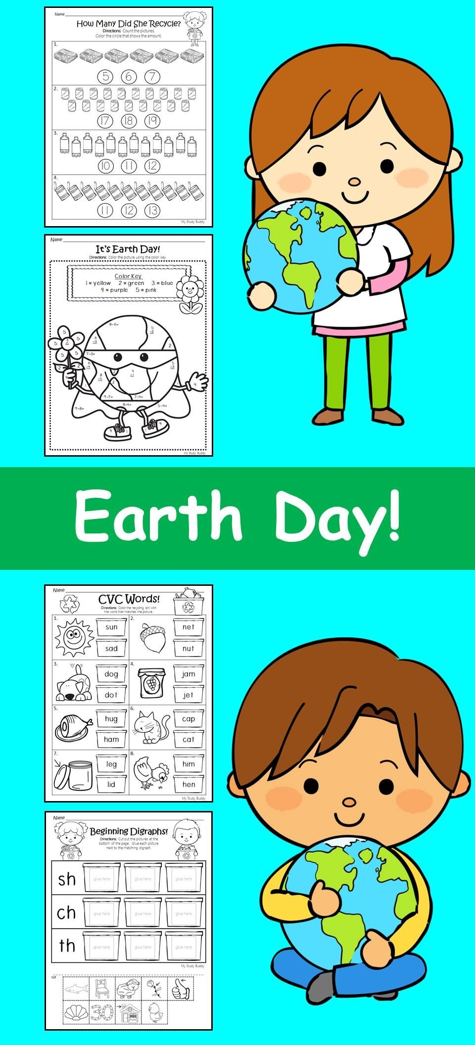 Earth Day Math & Literacy (Kindergarten, Earth Day Activities ...