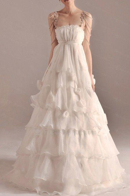 Organza spaghetti gulv lengde a-linje brudekjole med håndlagde blomster - Focus Vogue