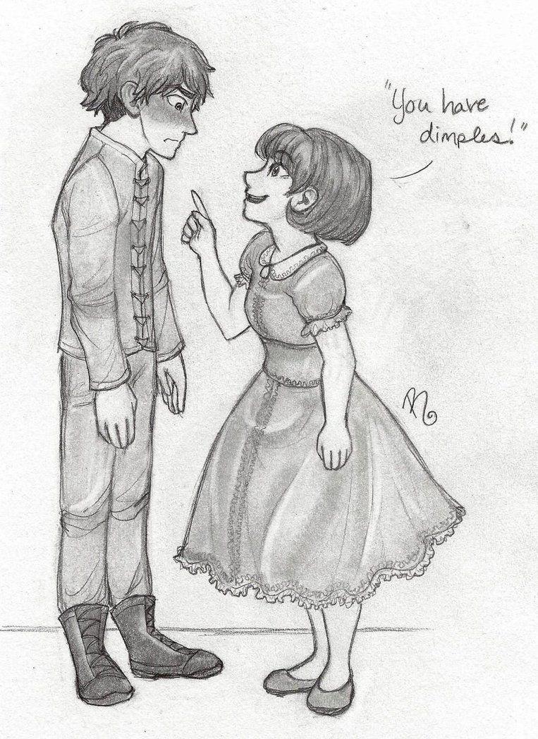 Dimples! by LOZ-Elisrilianfan on DeviantArt ~ AAAAAAAAAAAAAAAAAA MY BABIES ARE SO CUTE!! I had to worst case of giggles, much like Polly, while drawing this. Vincent and Polly (c) me