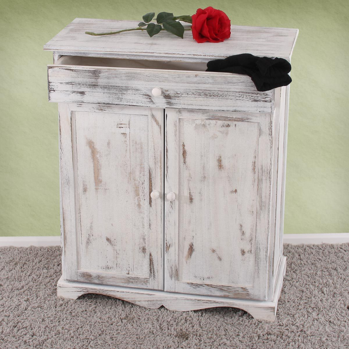 Commode Table D Appoint Armoire 66x33x78cm Shabby Vintage Gris