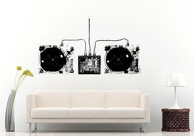 Wall or car decal vinyl sticker mural room decor dj turntable wall or car decal vinyl sticker mural room decor dj turntable blueprint l1197 products online store pinterest car decal room decor and walls malvernweather Choice Image