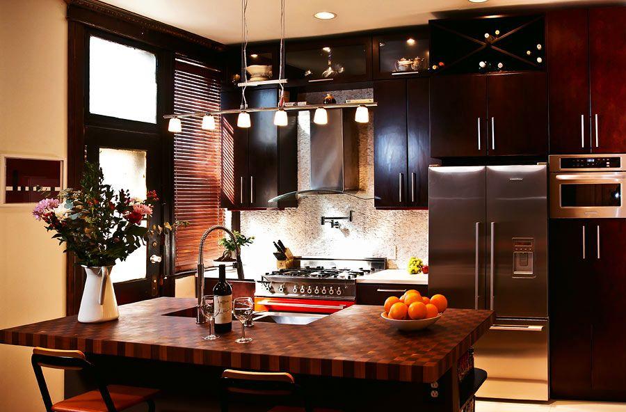 American cherry butcher block countertop custom walnut for Kitchen cabinets 3rd ave brooklyn