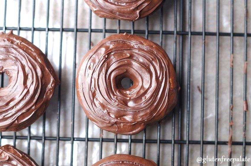Glutenfree chocolate dipped vanilla cake donuts gluten